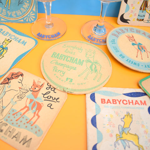 Vintage Babycham Glass & Drinks Mat Gift Sets