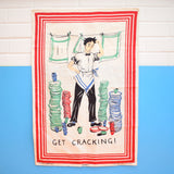 Vintage 1950s Unused Cotton Tea Towel - Man Doing Dishes (Rare)