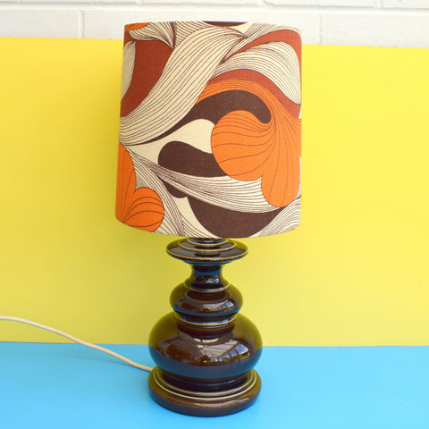 Vintage 1960s Ceramic Lamp - Original Swirl Shade - Orange & Brown