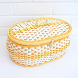 Vintage 1960s Sewing / Hobby Box - Woven Wicker Design - Yellow & White
