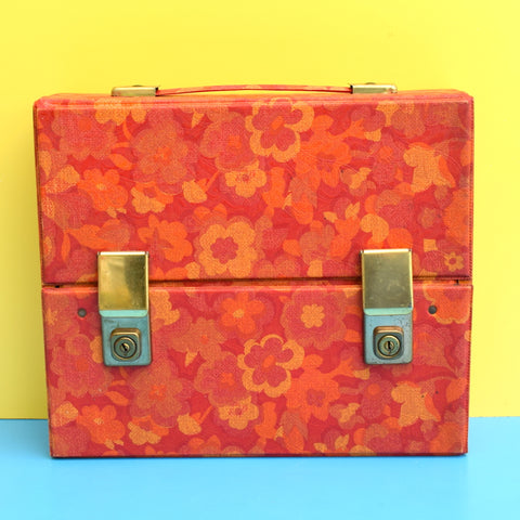 Vintage 1970s Cassette / Storage Case - Orange Flower Power