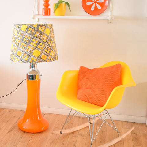 Vintage 1960s Floor Lamp - Glass / Chrome Base - Yellow, Orange & Grey Shade