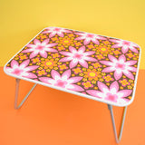 Vintage 1960s Folding Low Table - Flower Power - Pink & Orange