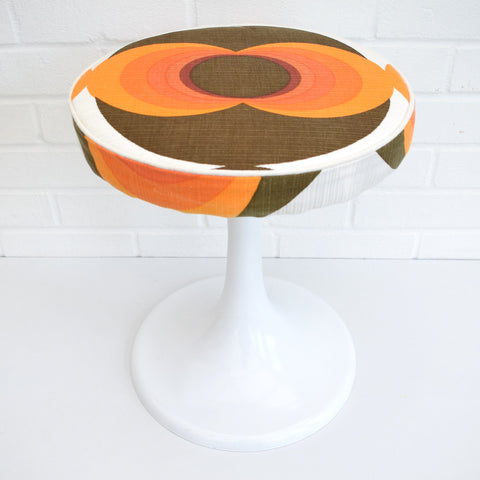Vintage 1960s Tulip Based Stool - Upholstered in 1960s Geometric Fabric, Orange