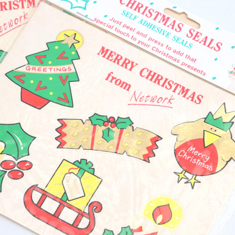Vintage 1980s Kitsch Christmas Stickers / Parcel Seals