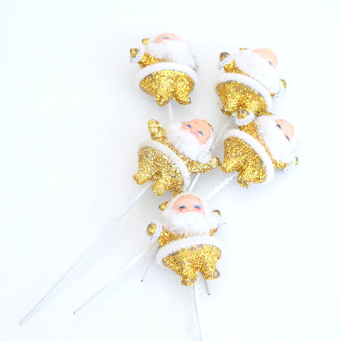 Vintage 1970s Kitsch Christmas Glitter Santa On Sticks - 5 Gold