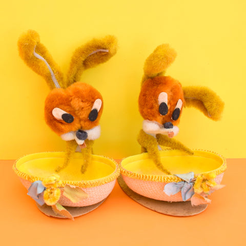 Vintage 1960s Kitsch Bunny Rabbit Gift Box / Baskets - Fill With Chocolate Eggs - Easter?