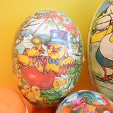 Vintage Cardboard Gift Box Egg Shaped - Fill With Chocolate Eggs - Easter