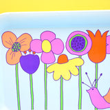 Vintage 1970s American Tin Tray - Flower Power / Snail Design- Pink