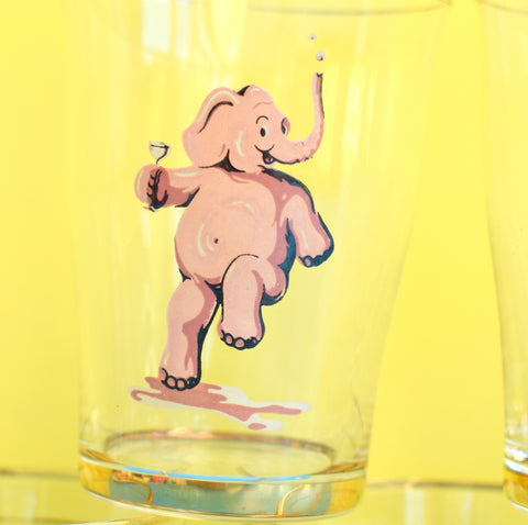 Vintage 1950s Pink Elephant Tot Glass Set