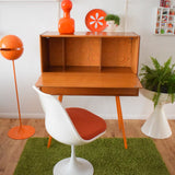 Vintage 1960s Honey Teak Bureau - Lacquered Orange Legs & Wallpaper Backing - Orange
