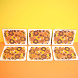 Vintage 1970s Rectangular Placemat Set of 6 - M&S - Flower Power Design - Orange