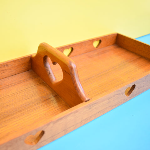 Vintage 1970s Swedish Teak Wooden Double Trug - Heart Design