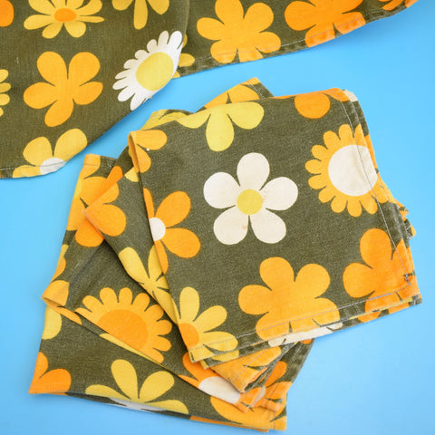 Vintage 1960s Tablecloth & Napkins - Genia Sapper Heidi Flower Power- Orange
