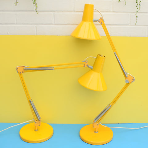 Vintage 1970s Angle poise Desk Lamp Pair - HCF Danish - Eggy Yellow