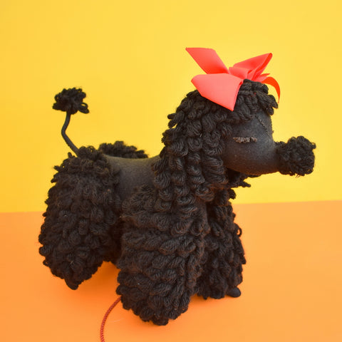 Vintage 1950s Jointed Poodle Toy - Gem Encrusted Collar - Black & Red