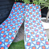Vintage 1970s Garden Sun Lounger Pair - Orange & Blue Geometric