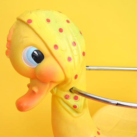 Vintage 1960s Kitsch Plastic Rocking Mrs Duck - Canova Italy - Yellow & Chrome