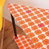Vintage 1960s Tiered Side Table - Flower Power - German Wallpaper - Red & Orange