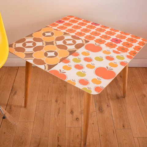 Vintage 1960s Coffee / Side Table - Patchwork Vintage Wallpaper - Red, Orange & Brown