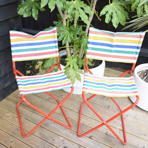 Vintage 1960s Striped Nylon Folding Stool / Chair Pair - Rainbow Stripe