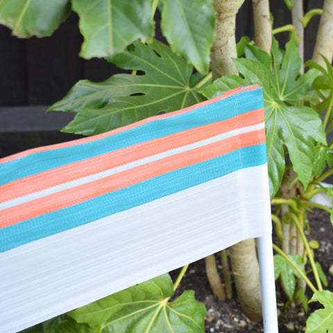 Vintage 1960s Striped Nylon Folding Stool / Chair - Orange, Turquoise & White