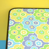 Vintage 1960s Folding Low Table - Flower Power - Green & Blue