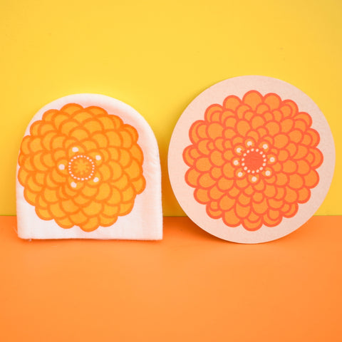 Vintage Laurids Lonborg Cardboard Coasters & Egg Cosies - Flower Designs - Orange & Pink