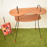 Vintage 1950s Atomic Hall Table - Teak Plywood / Metal - Red Ball Feet