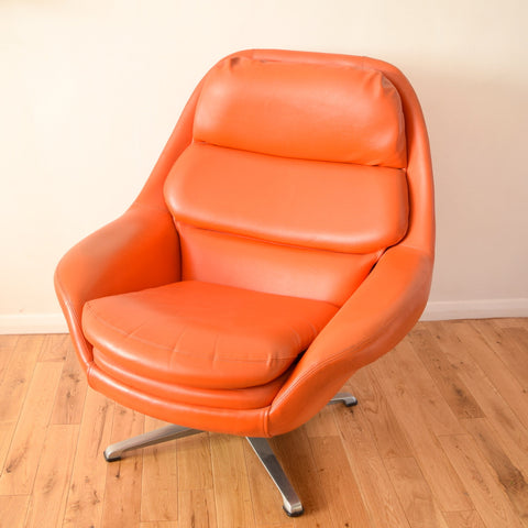 Vintage 1960s Vinyl / Metal Space Age Easy Chair - Stevens - Orange