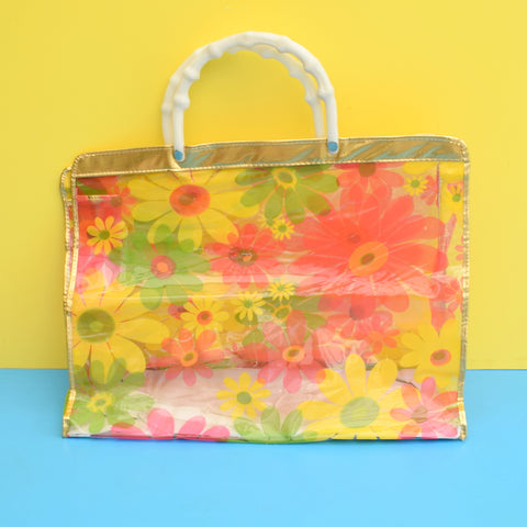 Vintage 1960s Plastic Bag - Flower Power - Pink & Yellow