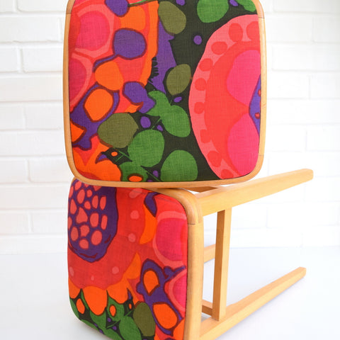 Vintage 1960S Beech Wood Stools - Swedish Boras Fabric - Pink , Orange, Green
