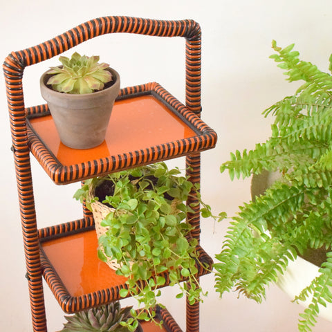 Vintage Folding Shelves / Plant Stand - Wicker / Glass - Orange & Black