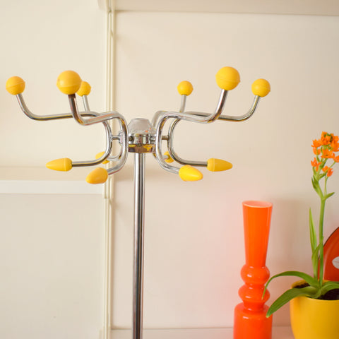 Vintage 1950s Atomic Ball Hat / Coat Stand - Yellow & Chrome