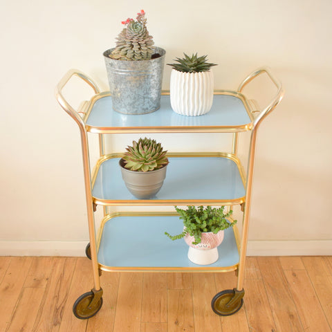Vintage 1950s Folding Aluminium Drinks/ Plant / Display Trolley - Pale Blue