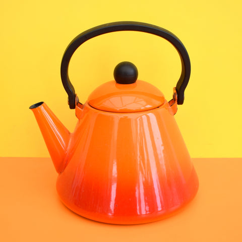 Vintage 1960s Enamel Tea Pot / Kettle - Orange