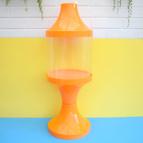 Vintage 1960s Plastic Space Age Pedestal Fish Tank / Terrarium - Orange