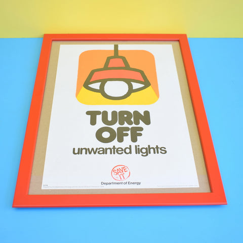 Vintage 1970s Department Of Energy - Turn Off Lights Poster - Framed