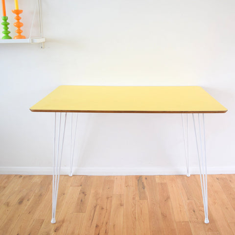 Vintage 1950s Formica Table - Original Hairpin Legs - Ideal Desk, Sunny Yellow