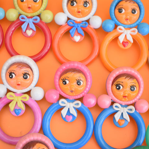 Vintage 1960s Plastic Doll Ring Rattles - Bright Rainbow Colours Nevalyashka (Russian)