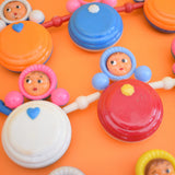 Vintage 1960s Plastic Doll Rattles / Pram Toys - Bright Rainbow Colours Nevalyashka (Russian) Style