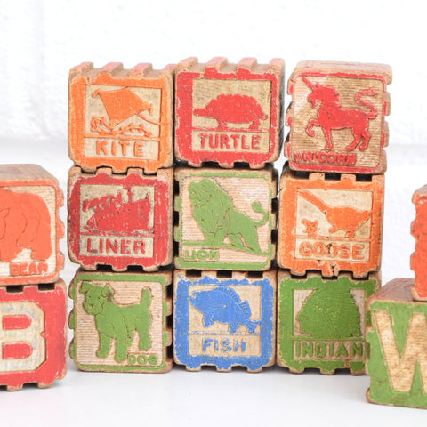 Vintage 1960s Wooden Interlocking Blocks - Letters / Pictures x24