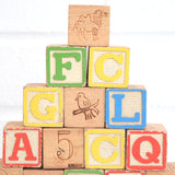 Vintage 1960s Wooden Blocks - Numbers, Letters, Pictures x15