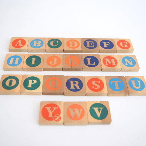 Vintage 1980s Wooden Flat Blocks - Letters & Pictures x24