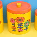 Vintage 1960s Flower Power Lacquered Storage Tins x3 - Yellow