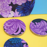 Vintage 1960s Small Flower Power Thetford Tray & Coasters - Purple