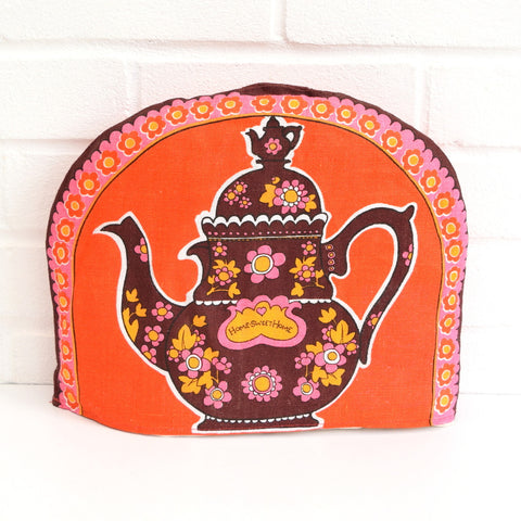 Vintage 1960s Flower Power Linen Tea Cosy - Pink, Red & Brown