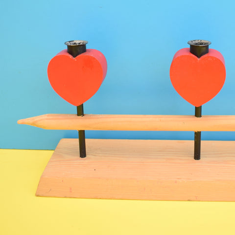 Vintage 1970s Wooden Heart Candle Holder - Swedish - Red