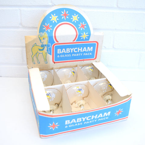 Vintage 1970s Babycham Glasses Boxed Party Set