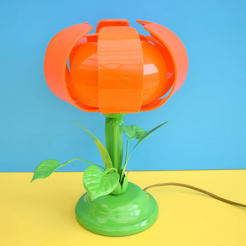 Vintage Metal Flower Lamp & Perspex Lotus Flower Shade - Orange & Green